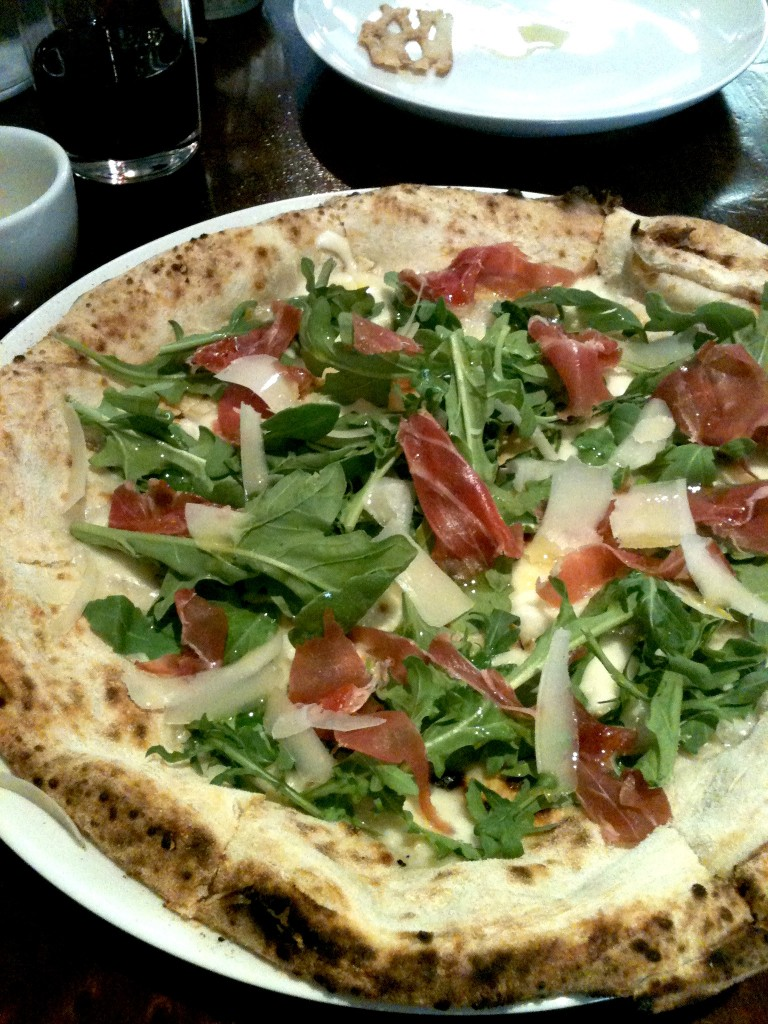 Masullo Pizza with prosciutto and arugula