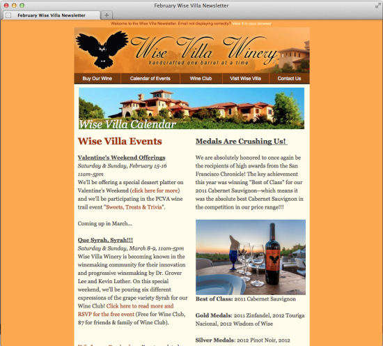 Wise Villa Winery Email Newsletter