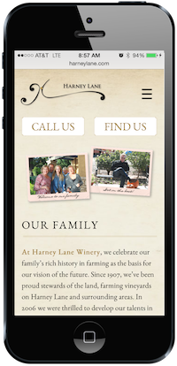 Harney Lane Winery Mobile-Optimized Website